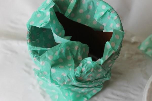 tissue paper decoupage inside