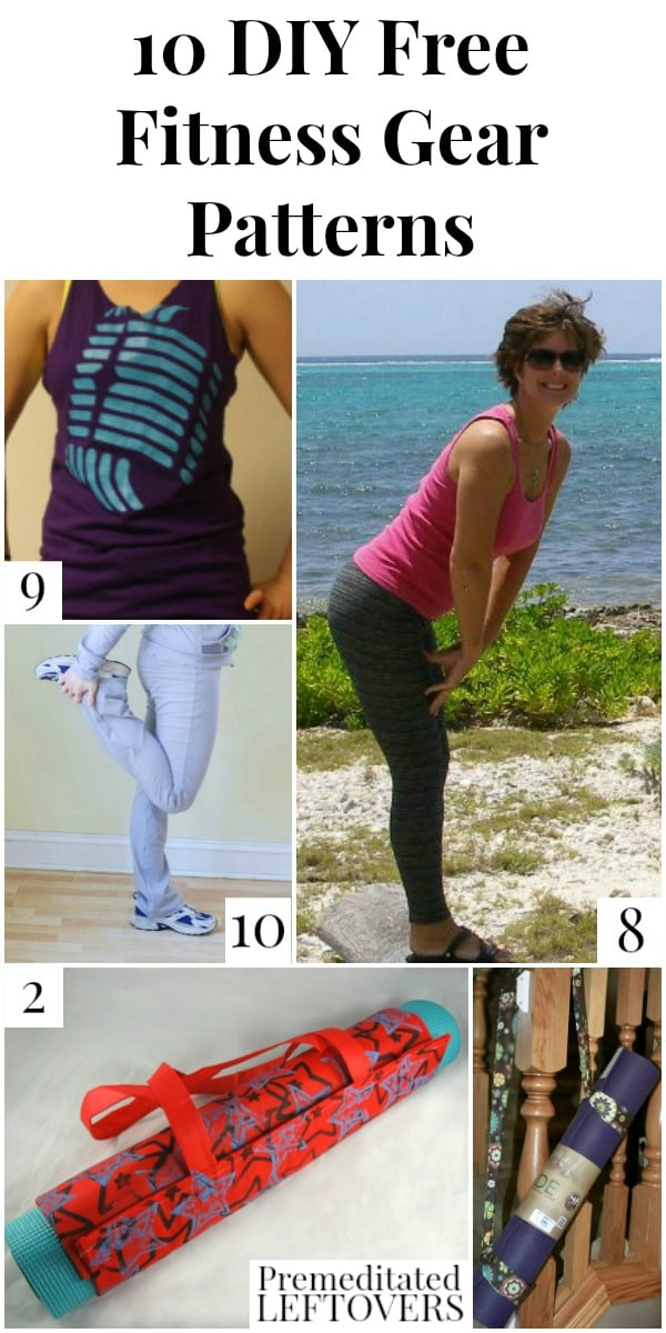 10 DIY Free Fitness Gear Patterns including a DIY yoga mat carrier, free pattern for sports bras, yoga pants pattern, and how to make a workout tank top.