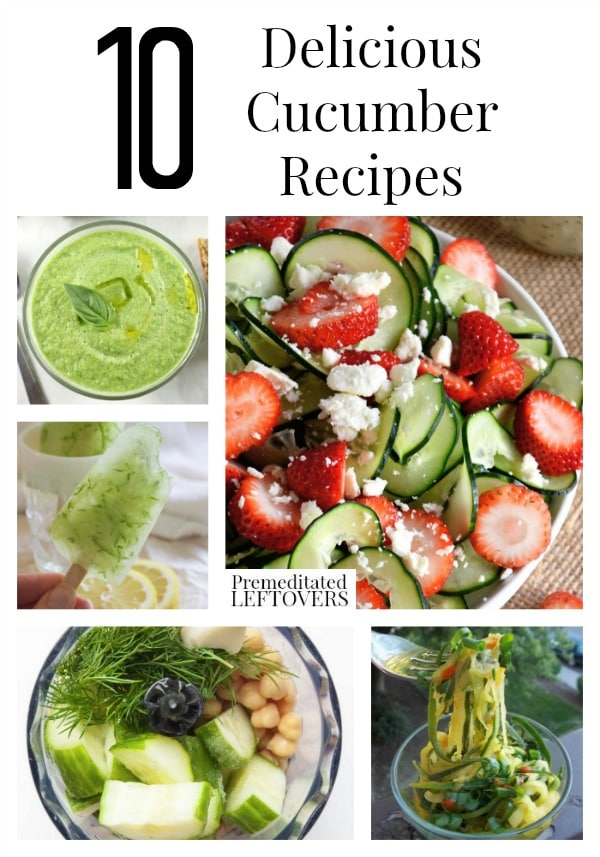 10 Delicious Cucumber Recipes including recipes for cucumber salad, smoothies using cucumber and cucumber appetizers.