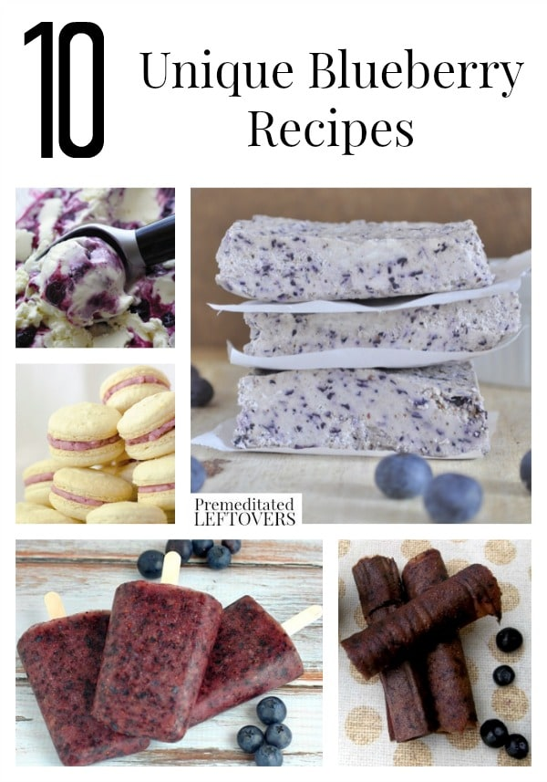 10 Unique Blueberry Recipes including blueberry smoothies, blueberry dinner ideas and ways to use up blueberries including how to freeze blueberries, too!