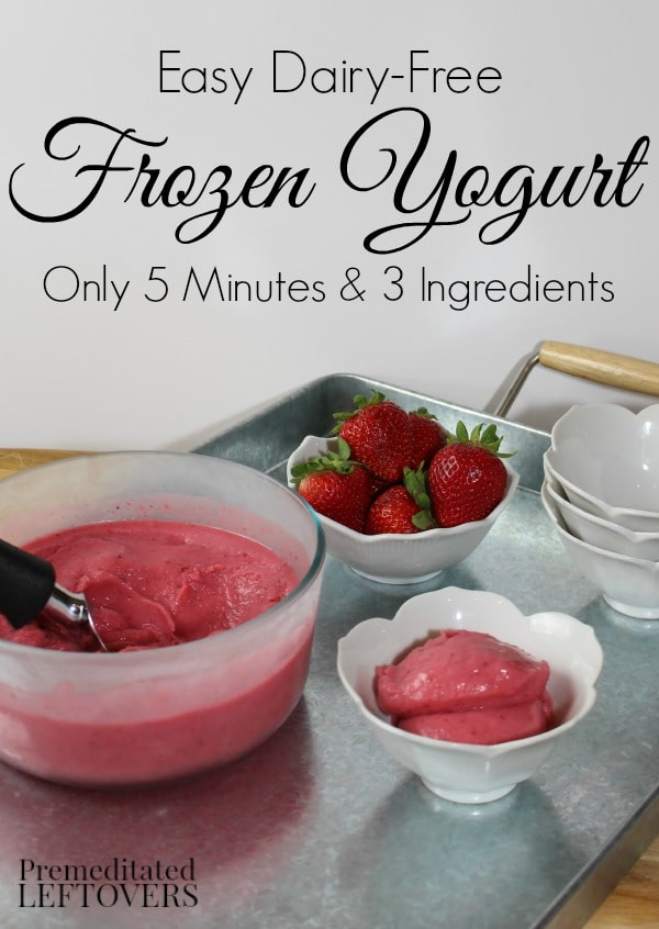 Easy dairy-free frozen yogurt recipe! It only requires 3 ingredients and 5 minutes to make this healthy treat.