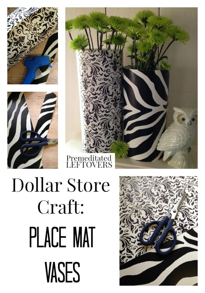 Upcycled Placemat Vase Tutorial - Placemat vases are an easy and frugal craft that is a great way to liven up a vase or upcycle a placemat.