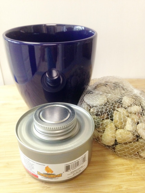 Supplies for DIY Tabletop Fire Pit