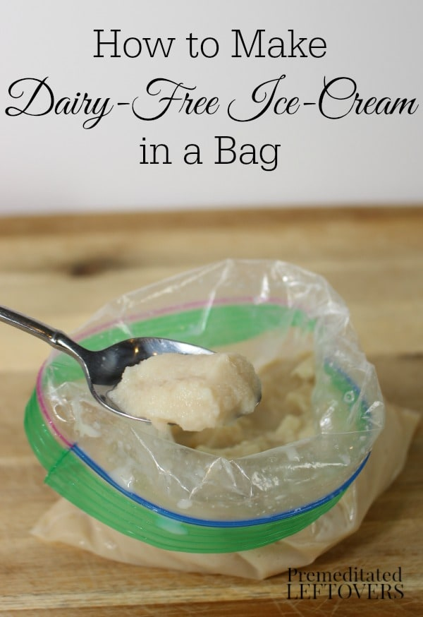 Homemade dairy-free ice-cream in a bag