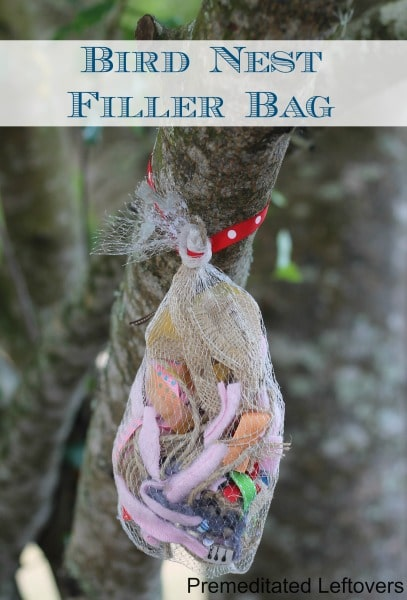 Bird Nest Filler Bag- Teach kids about birds and recycling with these fun scrap bags. Hang them outside and see how many feathered friends they attract.