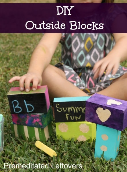 DIY Painted Outdoor Blocks for Kids - Here is an easy tutorial for creating your own painted outdoor blocks with your kids for outdoor play and learning.