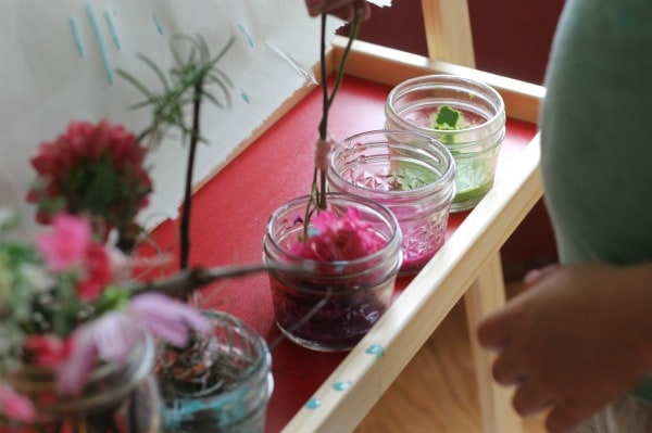 Painting with natural paint brushes