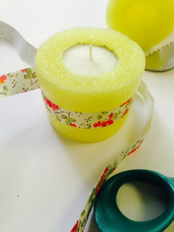 decorate the pool noodle luminaries with washi tape