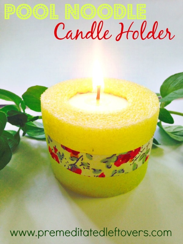 How to Make a Pool Noodle Candle Holder - Use this tutorial to make pool noodle luminaries with either traditional tea lights or battery operated tea lights. Decorate with washi tape. Click through for the tutorial.