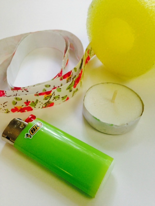 items needed to make a pool noodle candle holder
