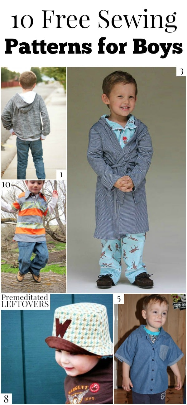 10 free sewing patterns for boys, including free patterns for hoodies, board shorts, ties, hats and more for boys of all ages.