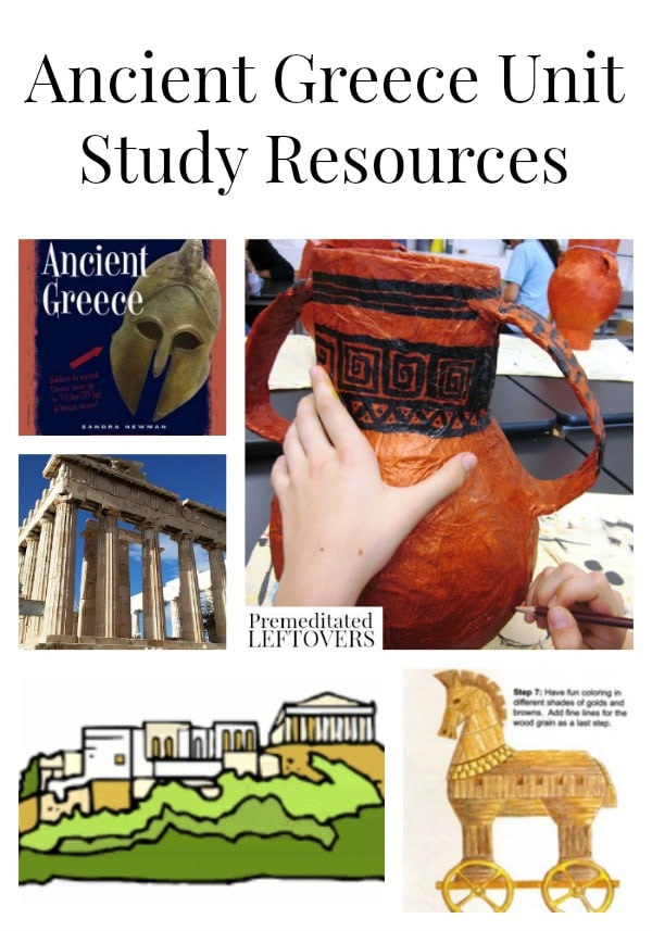 Ancient Greece Unit Study Resources including  ancient Greece crafts, ancient Greece printables and videos, and ancient Greece lesson plans for older kids.