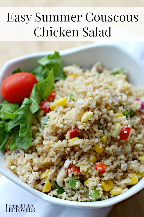 Easy Summer Couscous Chicken Salad Recipe - This easy couscous chicken salad recipe is a quick and easy dinner recipe or the perfect side dish for a party.