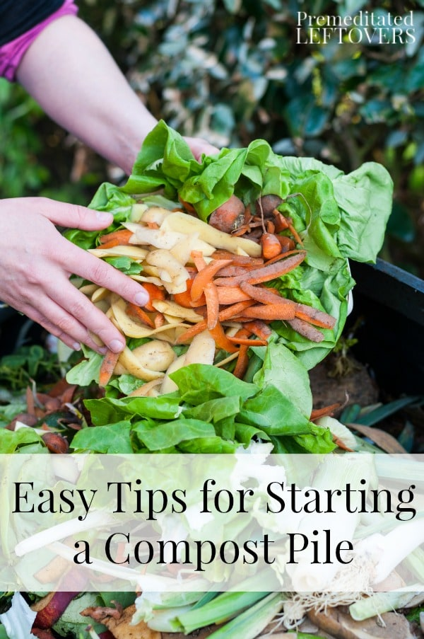 Easy Tips for Starting a Compost Pile, including what materials to compost, what type of container to use for your compost pile, and more helpful tips.