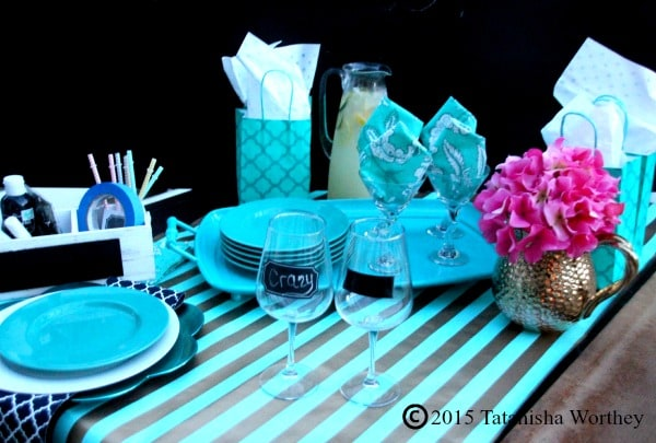 Girls Lunch Tablescape Idea with Chalkboard Wine Glasses