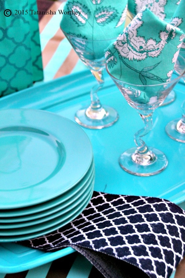 Girls Lunch Tablescape Glasses and Napkins