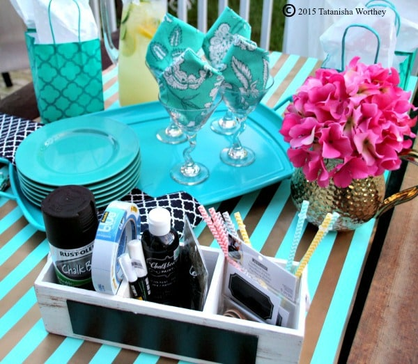 DIY Chalkboard Wine Glasses and Girl's Lunch Tablescape Supplies