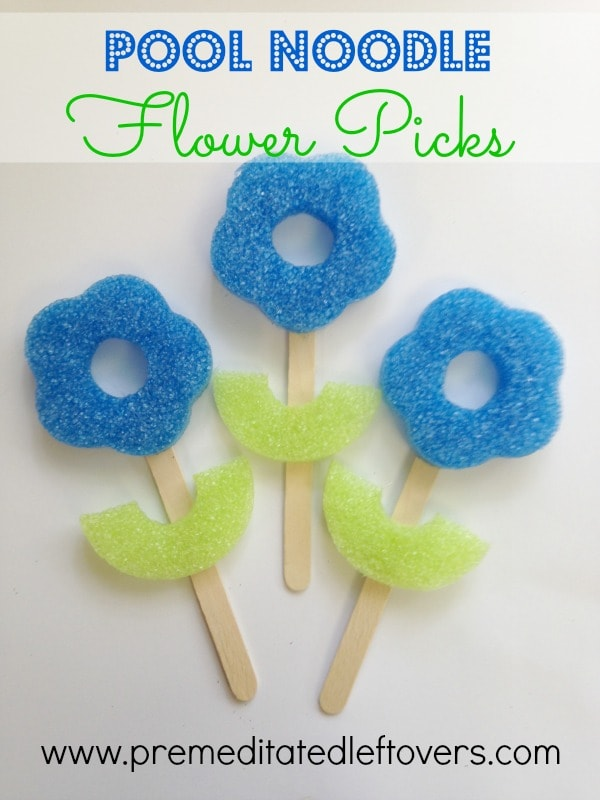 Pool Noodle Flower Craft for Kids - Here is an easy tutorial for making a flower craft from pool noodles and popsicle sticks.