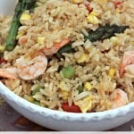 Summer Vegetables Shrimp Fried Rice recipe- This easy to make fried rice recipe is perfect for summer meals because you get to enjoy your garden's bounty, too!