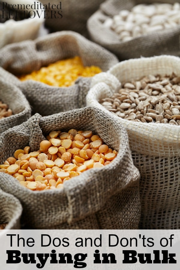 Tips for which items you should buy in bulk, what to do when buying in bulk to make your purchases last, and what you should avoid when you buy in bulk.