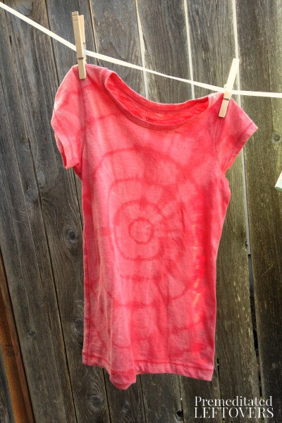 Reverse tie dyed tee shirt