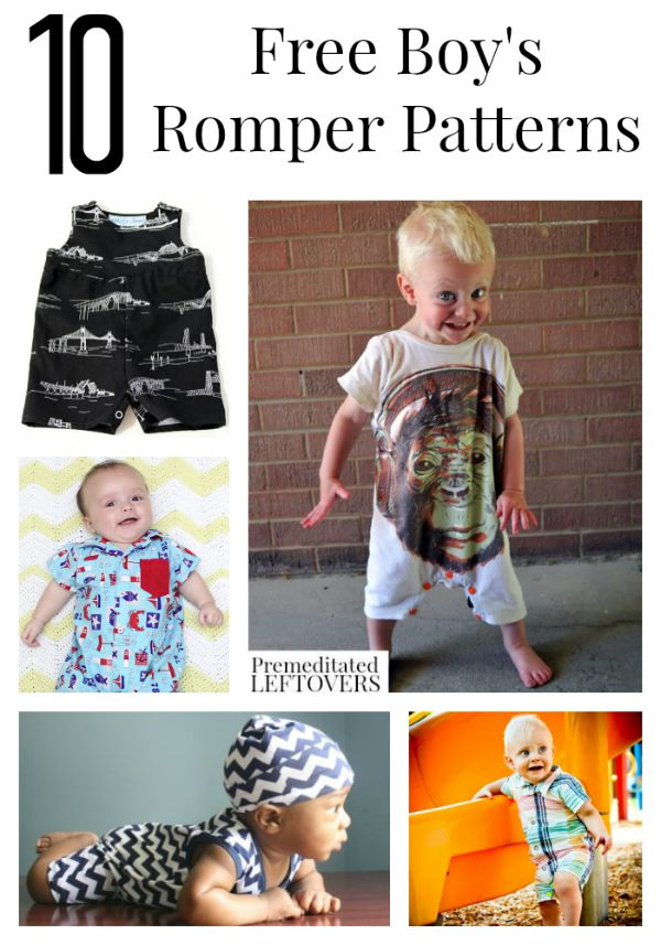 10 Free Boy Romper Patterns including easy rompers made from tee shirts, polo rompers, how to make baby boy rompers and other easy baby boy sewing patterns.