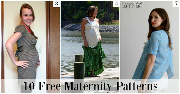10 free maternity patterns, including a tutorial on how to turn any pants into maternity pants, patterns for maternity dresses, and DIY maternity tops.