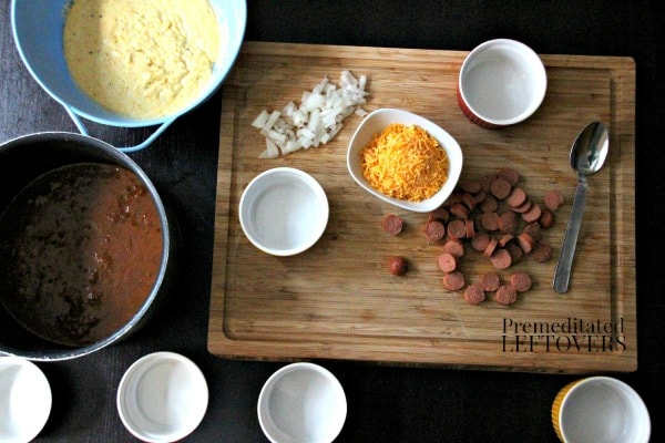 Chili Dog Cornbread Cups ingredients