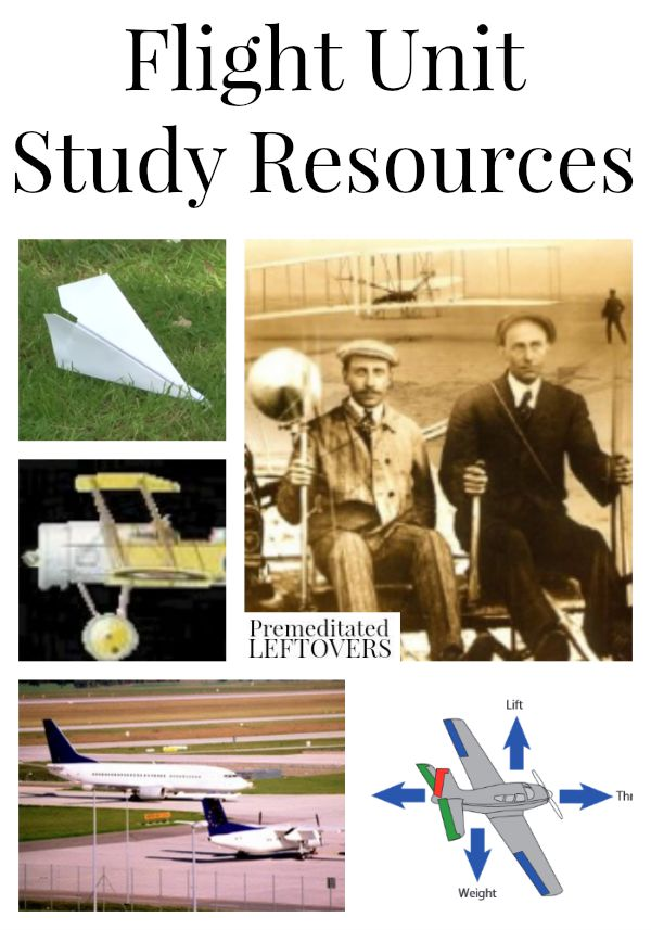Flight Unit Study Resources including information on aviation lesson plans, activities that teach flight, how things fly and books on flight for kids.