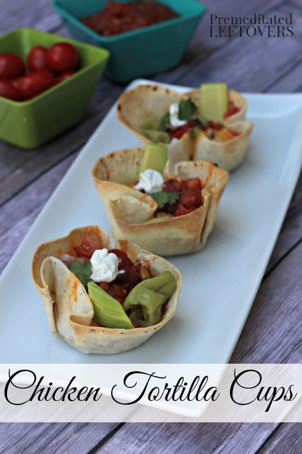 This Chicken Tortilla Cups Recipe is made in a cupcake pan using flour tortillas. These tasty chicken tortilla cups are a delicious appetizer or main dish.