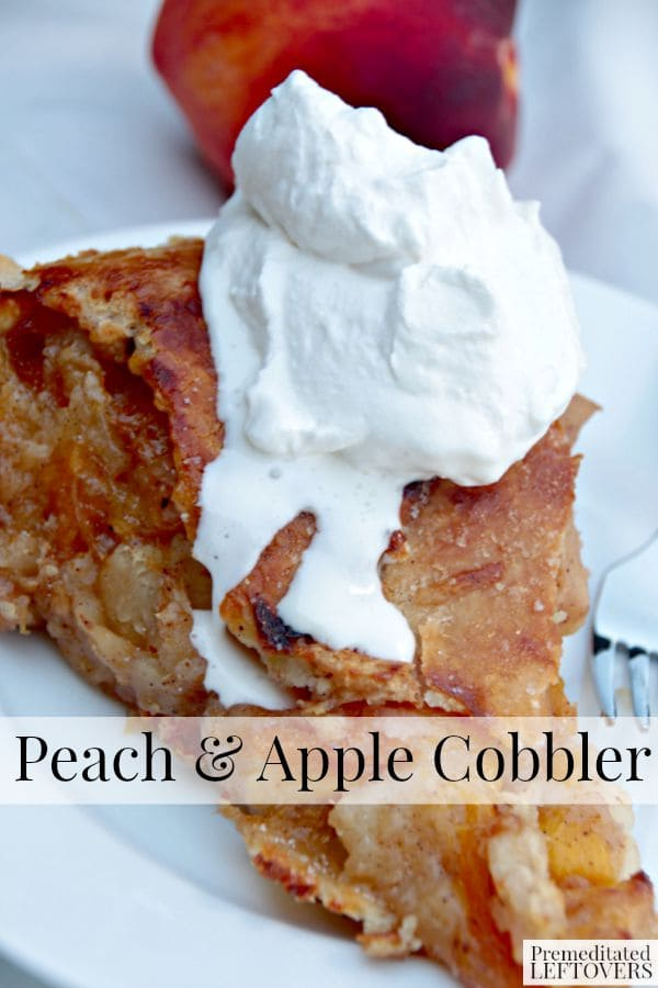 How to Make a Peach and Apple Cobbler - This Peach and Apple Cobbler takes the cake, with a delicious filling, double crust and rum spiked whipped cream.