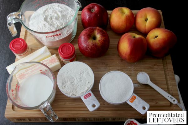 Peach and Apple Cobbler Ingredients