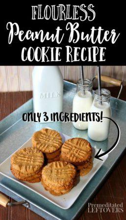 easy 3 ingredient flour-less peanut butter cookies recipe