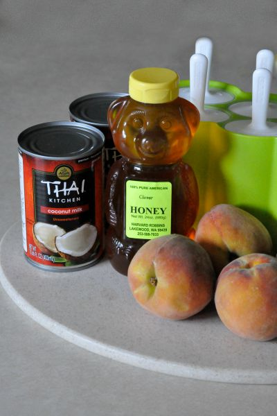 ingredients for peaches and cream popsicles