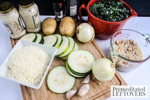 Potato Gratin with Zucchini and Kale ingredients