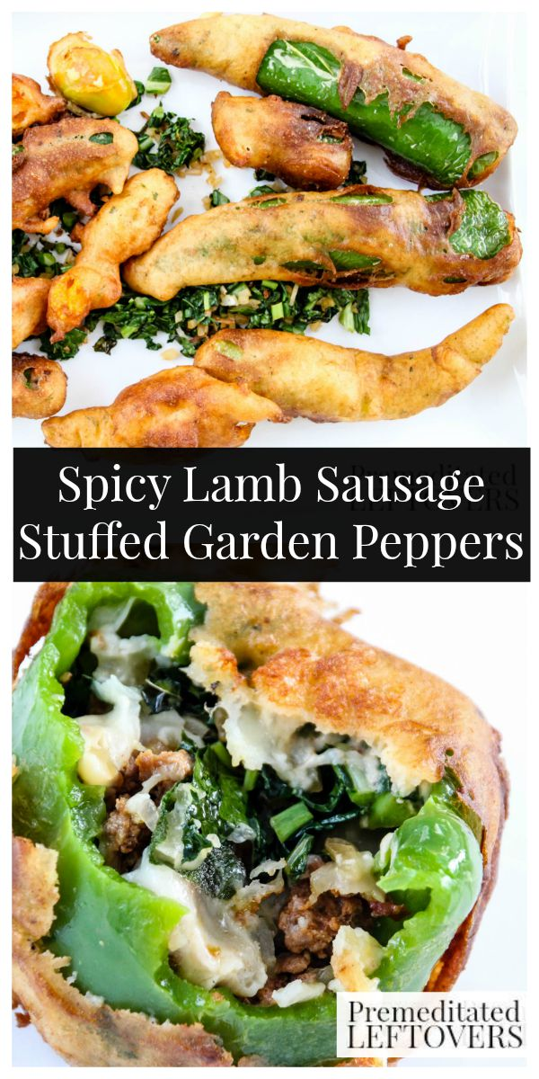Spicy Lamb Sausage Stuffed Garden Peppers-These stuffed peppers are a great way to use fresh peppers from your garden. Beer batter gives them a nice crunch.