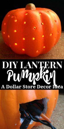 a homemade pumpkin lantern using a dollar store foam pumpkin and twinkle lights