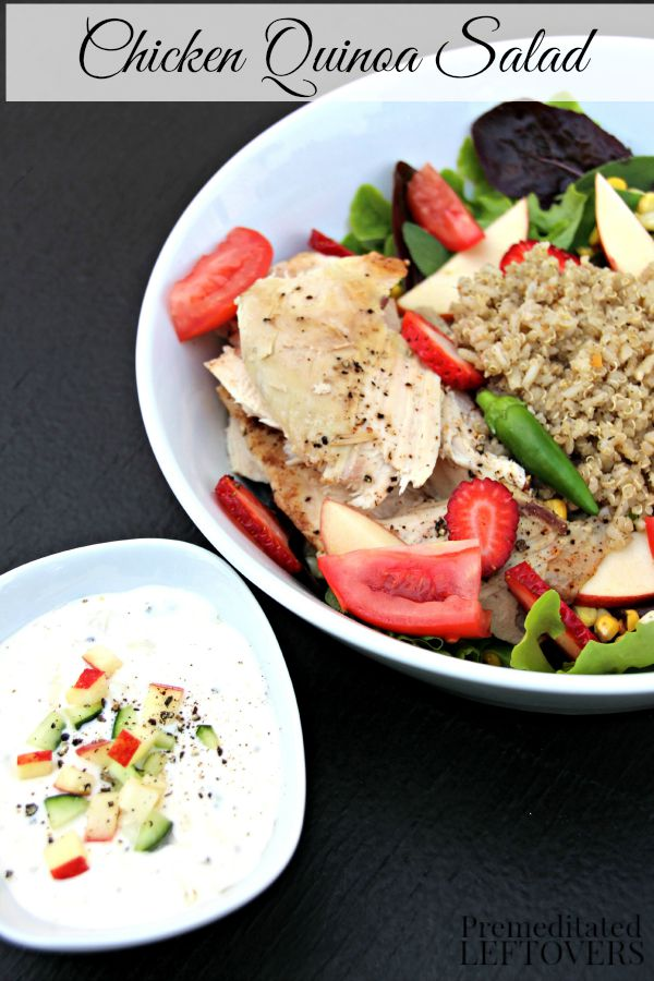 Chicken Quinoa Salad- This nutrient dense salad combines fresh fruit and vegetables with roasted chicken and quinoa. It's the perfect summer salad recipe!