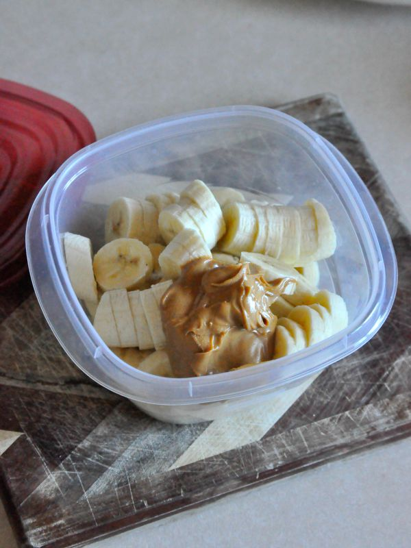 Peanut Butter Banana Chips in container for mixing