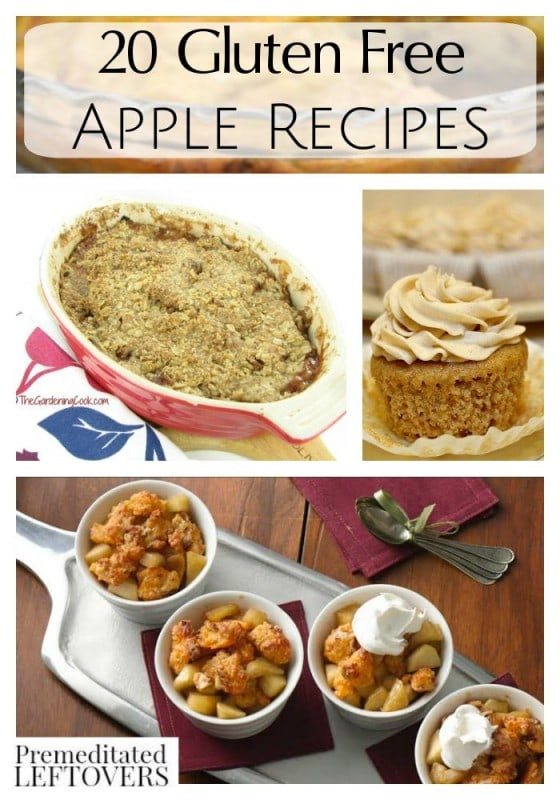 20 Gluten Free Apple Recipes- These gluten free recipes bring apples to your breakfast, lunch, or dinner table in delicious treats that everyone will enjoy.