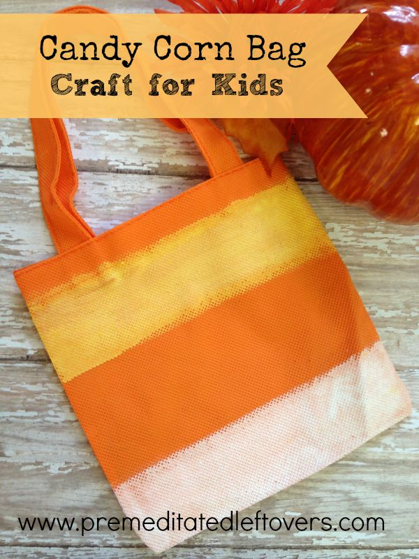 DIY Hand Painted Candy Corn Treat Bag Tutorial- Kids can make these candy corn bags to use to fill with candy or other fall treats. Fun fall craft for kids!