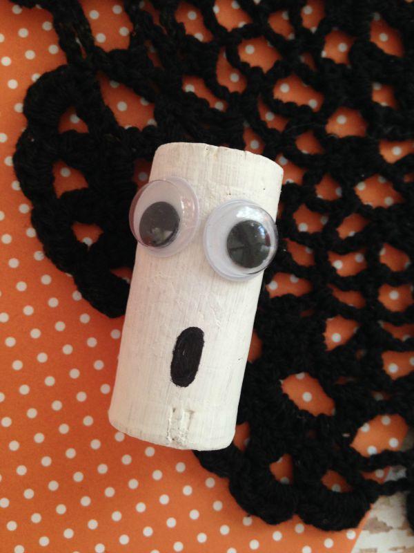 Halloween Cork Critter Craft for Kids ghost