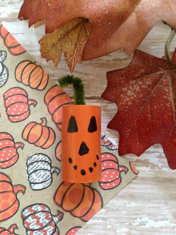 Halloween Cork Critter Craft for Kids pumpkin