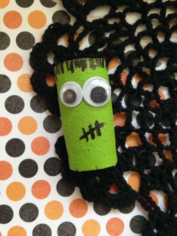Halloween Cork Critters Craft for Kids Frankenstein