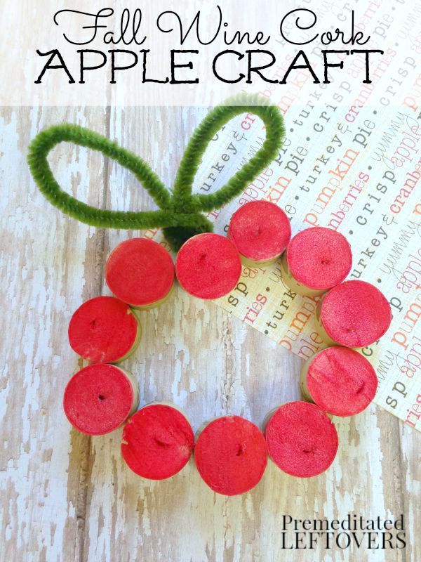 Fall Wine Cork Apple Craft- This apple craft project is a perfect fall activity for kids. This wine cork apple adds a fun (and frugal) touch to fall decor!