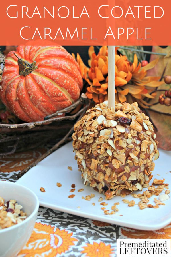 Granola Coated Caramel Apple Recipe: Crunchy granola, sweet caramel, and a tart apple are a perfect combination. Delicious fall treat for a Harvest Party.