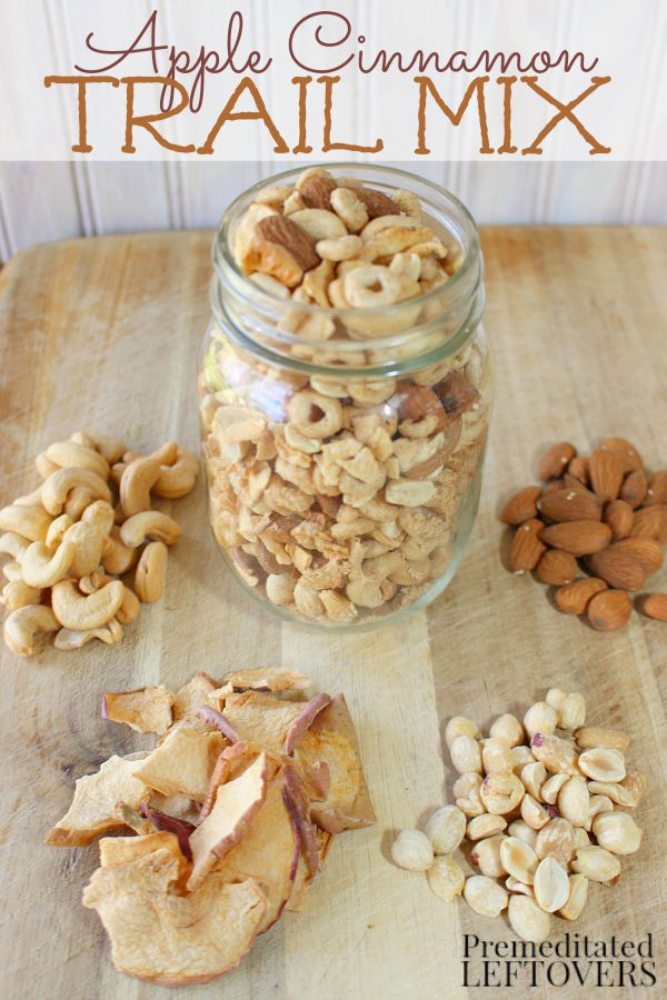 Looking for a delicious candy-free trail mix recipe? This delicious apple cinnamon trail mix recipe includes apple cinnamon GlutenFreeCheerios, nuts, and apple chips. The Apple Cinnamon Cheerios and apple chips add just the right touch of sweetness to balance the saltiness of the nuts.