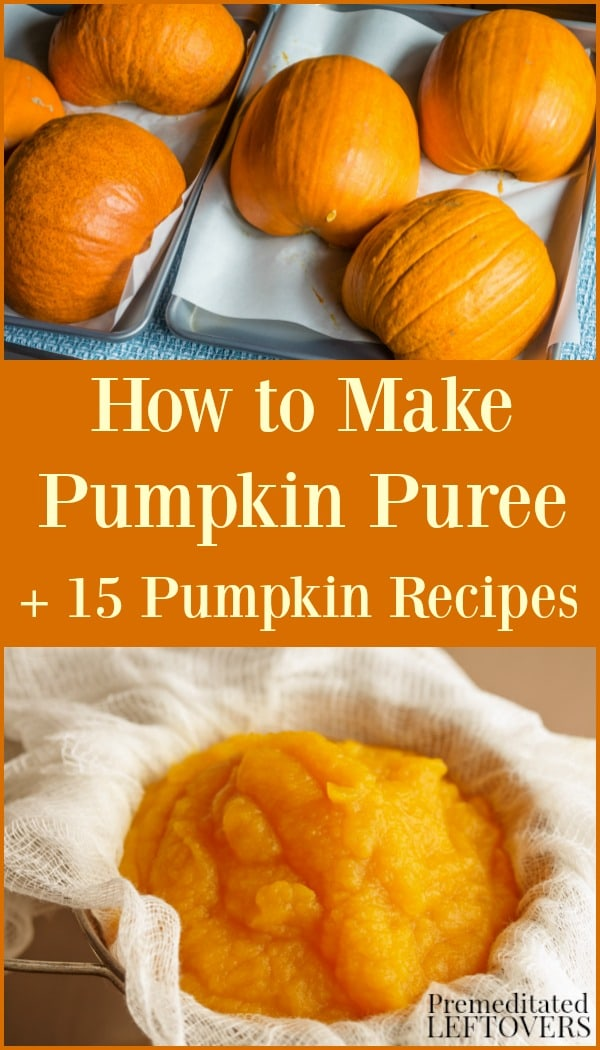 Pumpkins cut in half on a roasting pan to make homemade pumpkin puree.