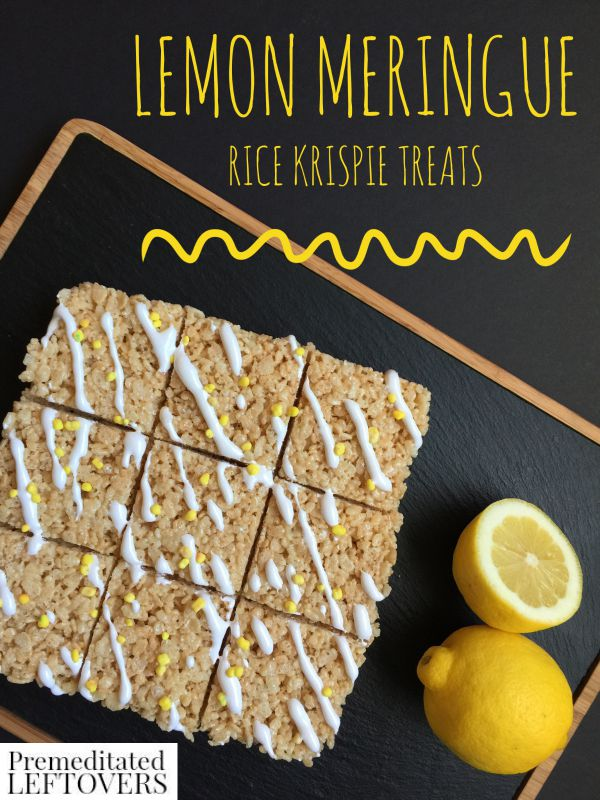 Lemon Meringue Rice Krispie Treats- These chewy, lemon-flavored Rice Krispie treats are fun and easy to make. Kids and adults alike with enjoy this recipe!