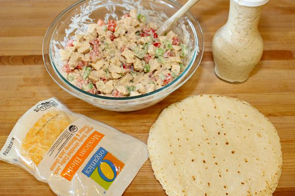 Making the chicken salad wraps